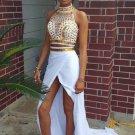 Elegant Gold and White Prom Dress