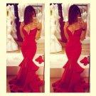 Red Mermaid Satin Prom Dress