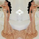 Sweetheart Gold Sequined Prom Dress
