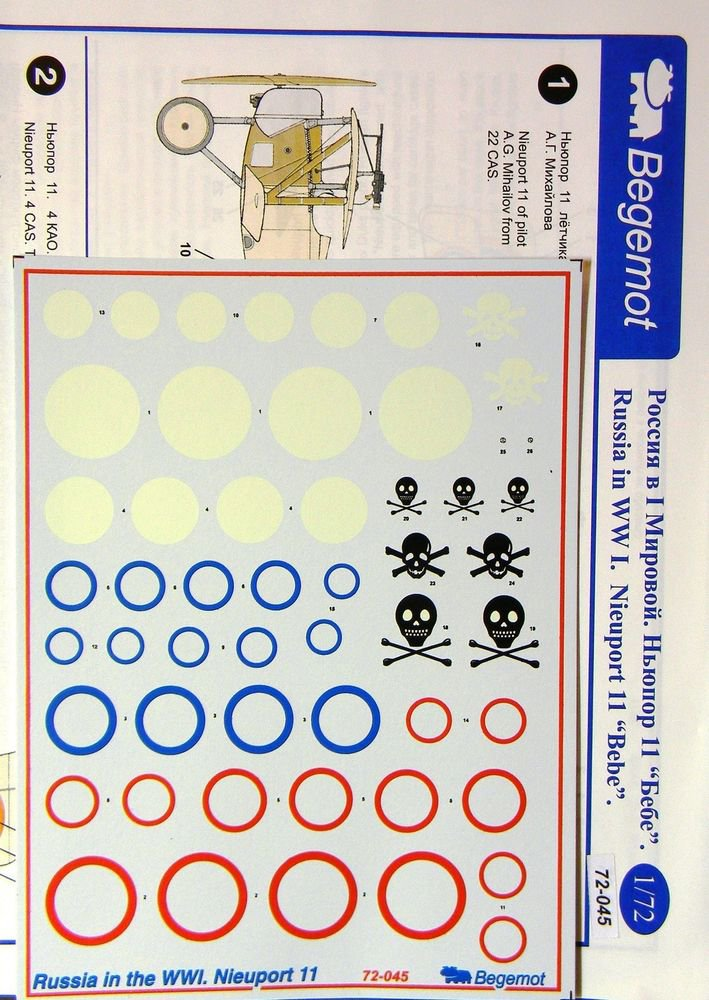 BGM-72045 Begemot decals 1/72 Russia in the WWI. Nieuport 11 Fighter Aircraf