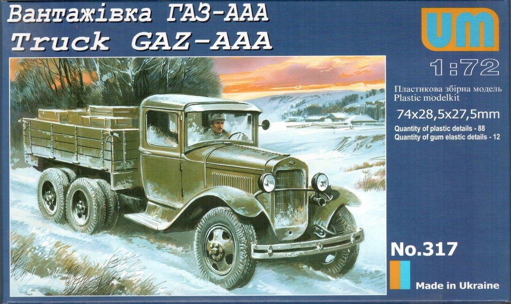 UMD-317 UM 1/72 GAZ-AAA Soviet WW2 Army Truck model kit
