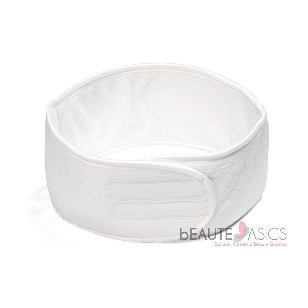 Microfiber Spa Headband Velcro, White - ah6001Wx1