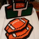 footbal coasters and tissue box