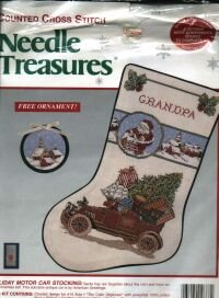 New Needle Treasures Counted Cross Stitch Holiday Motor Car Stocking Kit & Ornament #02888