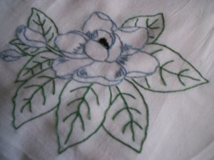 magnolia dish towel tea towel cotton fabric hand embroidered