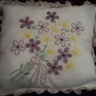 Handcrafted hand embroidered decorative throw bed pillow violets and wild flowers