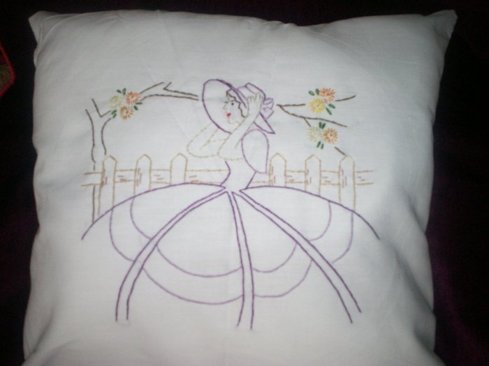 Handcrafted hand embroidered decorative throw bed pillow southern lady, southern belle