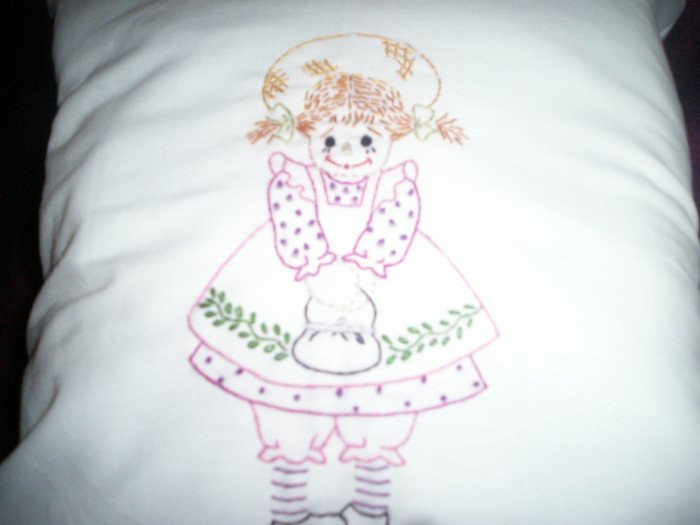 Handcrafted hand embroidered decorative throw bed pillow raggedy rag doll