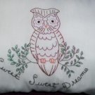 handcrafted hand embroidered decorative throw bed pillow sweet, sweet dreams hoot-owl