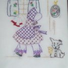 hand embroidered pillowcases sunbonnet sue in cleaning day all handcrafted handmade