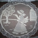 Handcrafted needlework lace decorative throw bed pillow a country girl