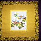 handcrafted needlepoint night stand table cloth birds bees flowers on a branch