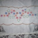 Hand embroidered dresser scarf  lazy daisies with butterflies table runner cotton fabric