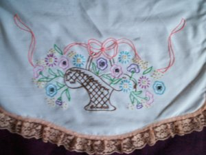 brown baskets of pastel flowers dresser scarf table runner