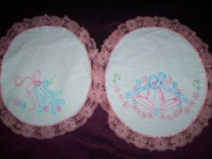 set of 2 hand embroidered dollies wedding bells