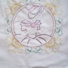 Hand embroidered dresser scarf Southern belle cotton fabric