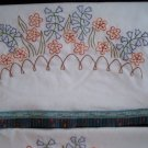 2  pillowcases blue bells orange poppies in the garden
