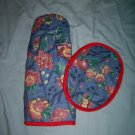 oven mitt and hot pad wild flowers and red binding all handcrafted
