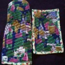 oven mitt and hot pad grapes and wine bottles handmade