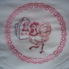 hand embroidered dish towel tea towel a roosters reflection cotton fabric
