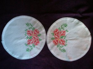 set of 2 hand embroidered dollies cross stitched red flowers