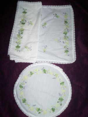 cross stitch ivy dresser scarf and dollie