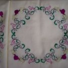 hand embroidered set of 2 pillowcases wreath of flowers on manila yellow