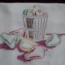 One hand embroidered dish towel tea towel red green yellow bell peppers cotton fabric