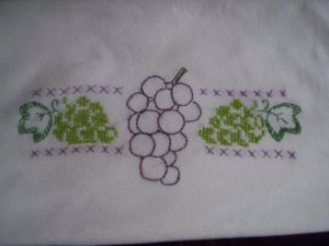 One hand embroidered dish towel tea towel light green and royal purple grapes cotton fabric