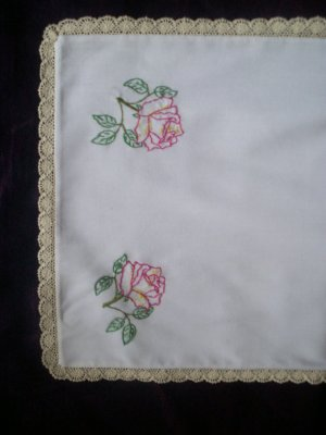 pink yellow roses dresser scarf table  runner