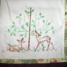 Hand embroidered dresser scarf table runner deer daisies tree binding of flowers