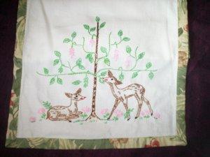 dresser scarf  deer daisies tree binding of flowers