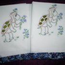 hand embroidered pillow cases set of 2 pillowcases turtle love handmade