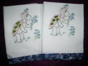 turtle love set of 2 hand embroidered pillowcases handmade