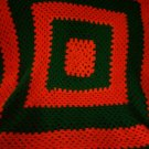 crochet baby blanket 43 inches by 43 inches handmade Christmas green halloween orange