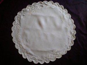 white satin stitch flowers cotton doily  21 inches round