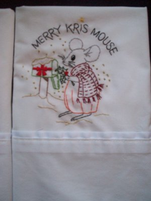 set of 2 hand embroidered pillowcases all handmade adorable merry kris mouse