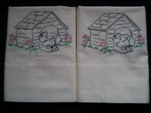 set of 2 hand embroidered pillowcases all handmade adorable puppy in the dog house