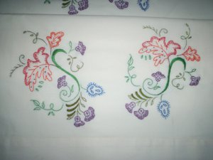 2 pillowcases fall leaves purple wild flowers