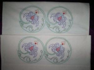 set of 2 pillowcases encircled purple wild flowers handmade