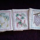 embroidered set of 3 dish towel tea towel pears strawberrys grapes fruit