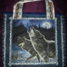 handmade wolf tote bag grocery bag beach bag book bag reuseable go green handcrafted bags