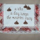 a kiss a day keeps the meanies away tan tote grocery beach book reusable go green