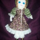 handmade doll little prairie girl tiny purple roses dress one of a kind doll 20 inches tall