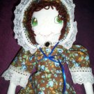 handmade little prairie girl doll blue roses dress one of a kind doll 20 inches tall handcrafted