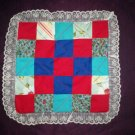 doll quilt handmade red and blue fabric 15 inches by 15 inches