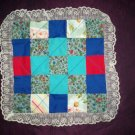 doll quilt handmade lady bug teal fabric patchwork 15 inches by 15 inches