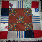 doll quilt handmade patchwork 19 inches by 19 inches white lace