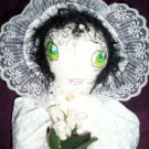 baby doll little prairie girl white flower dress white roses one of a kind doll 19 inches tall