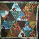 triangle doll quilt handmade 16 inches by 15 inches handcrafted rose leaf binding